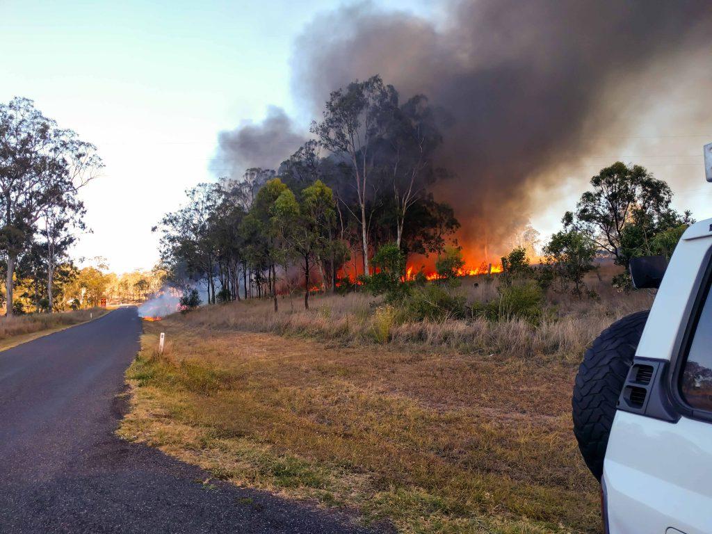 Buschbrand in Australien, Fahrerin wohlauf, Bartbürste nicht.